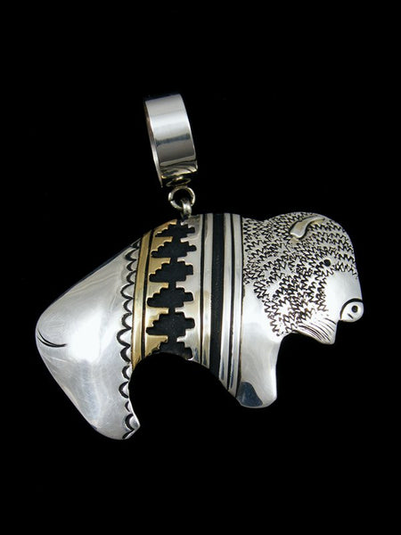 Native American Silver and Gold Overlay Buffalo Pendant