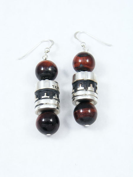Purple Tiger Eye Dangle Earrings