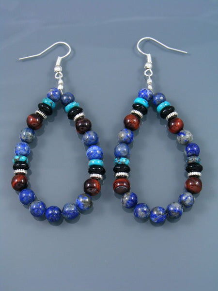 Lapis and Turquoise Beaded Dangle Earrings