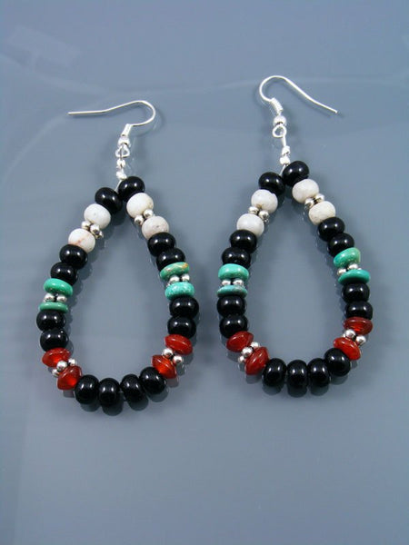 Onyx and Turquoise Beaded Dangle Earrings