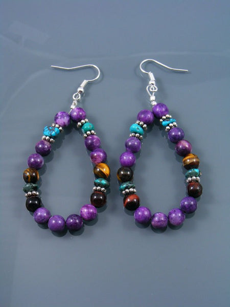 Dyed Jasper and Turquoise Beaded Dangle Earrings