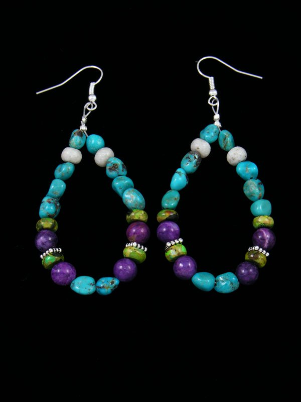 Turquoise and Jasper Beaded Dangle Earrings