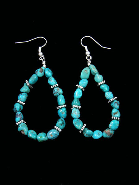 Turquoise Beaded Dangle Earrings