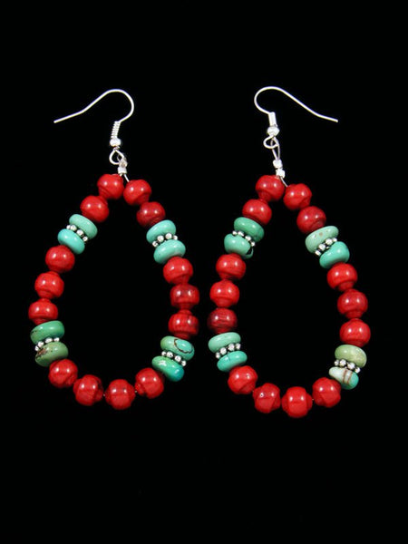 Coral and Turquoise Dangle Earrings