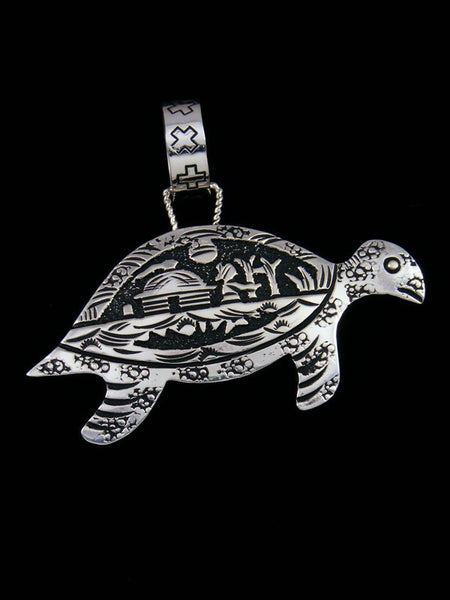 Native American Sterling Silver Overlay Turtle Pendant