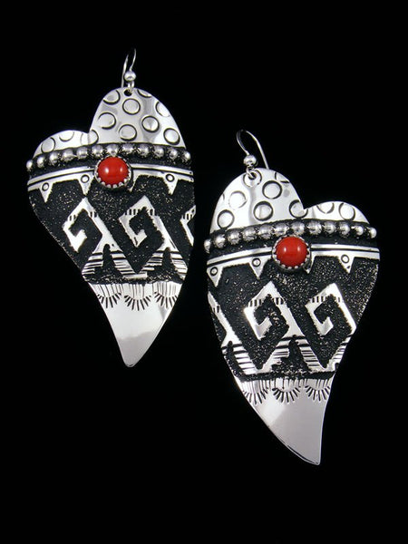 Navajo Sterling Silver Overlay Dangle Heart Coral Earrings