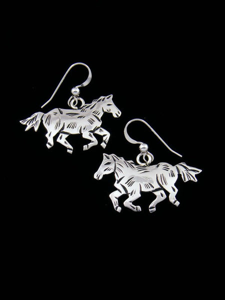 Navajo Sterling Silver Overlay Dangle Horse Earrings