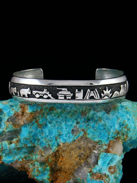 Native American Jewelry Hand Crafted Sterling Silver Overlay Storyteller Bracelet