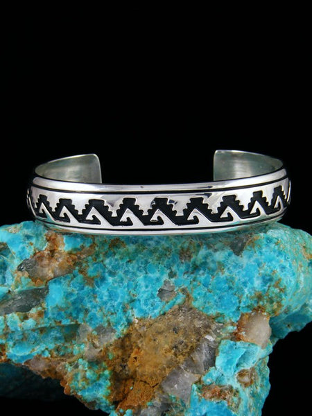 Native American Jewelry Hand Crafted Sterling Silver Overlay Bracelet