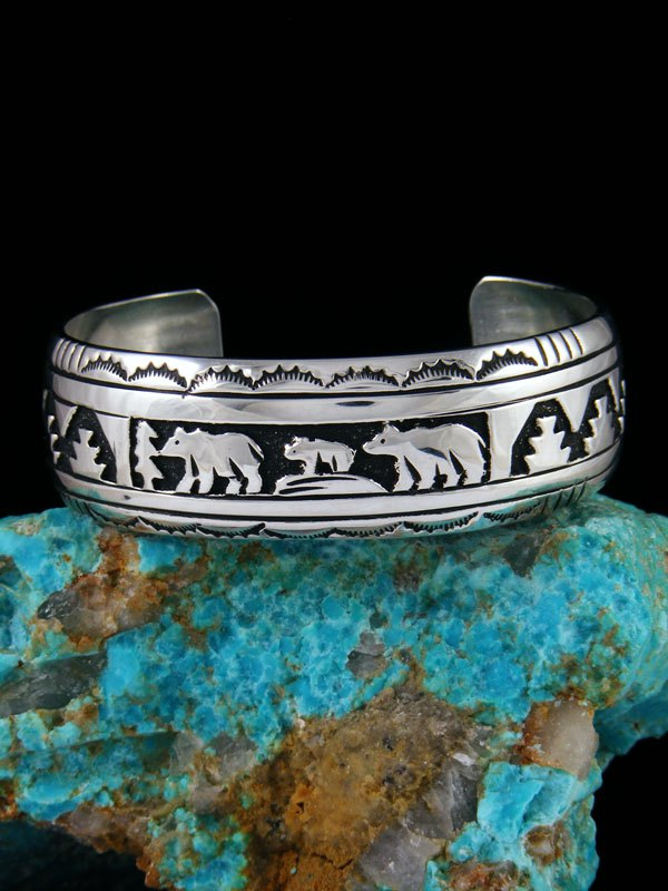 Native American Indian Jewelry Hand Crafted Sterling Silver Overlay Storyteller Bracelet