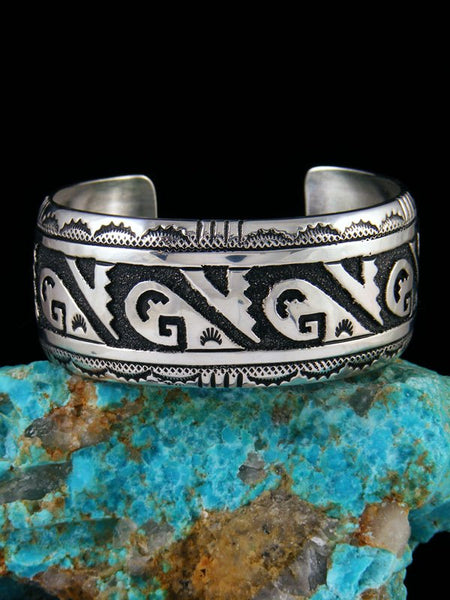 Navajo Sterling Silver Wave Overlay Cuff Bracelet
