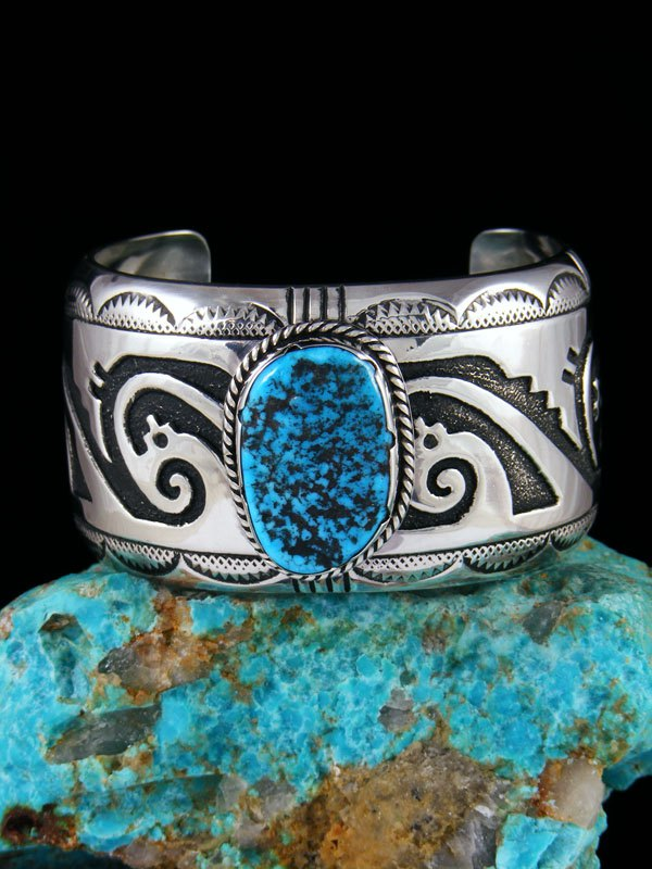 Navajo Sterling Silver Overlay Turquoise Cuff Bracelet