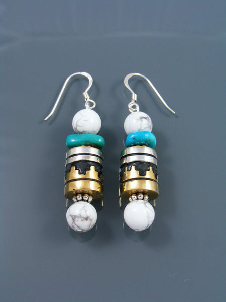 Navajo White Marble and Turquoise Dangle Overlay Bead Earrings