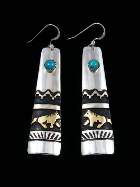 Sterling Silver, Gold and Turquoise Earrings