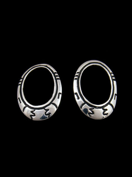 Navajo Sterling Silver Overlay Post Earrings