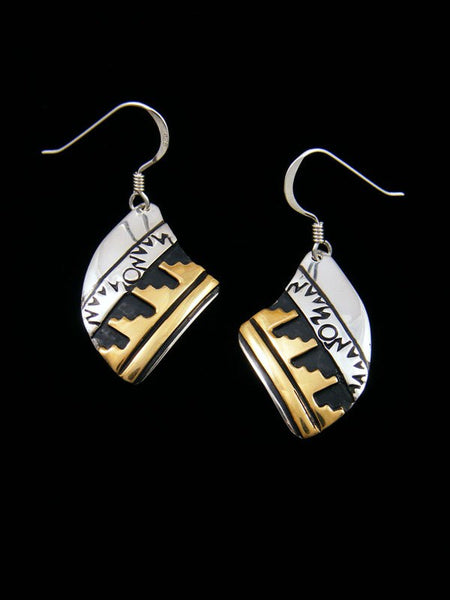 Navajo Sterling Silver and Gold Overlay Dangle Earrings