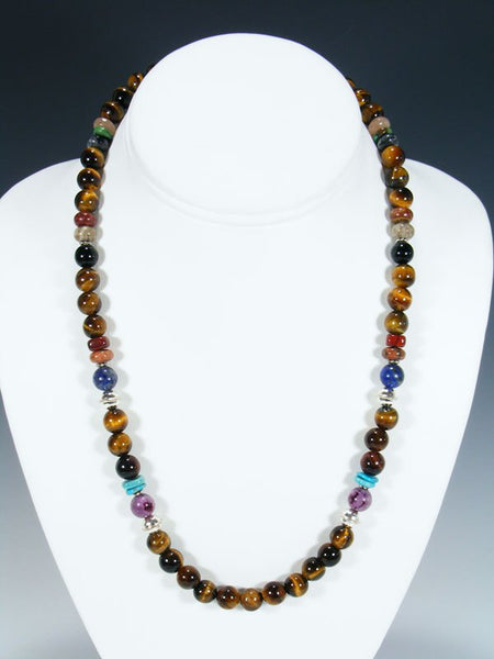 "Navajo Tiger Eye 20"" Single Strand Necklace"