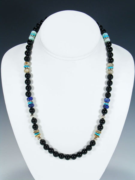 "Navajo Black Onyx 20"" Single Strand Necklace"