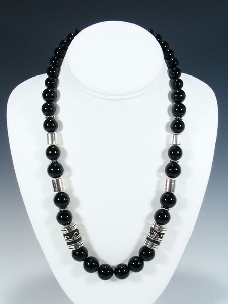 "Black Onyx 21"" Single Strand Bead Necklace"