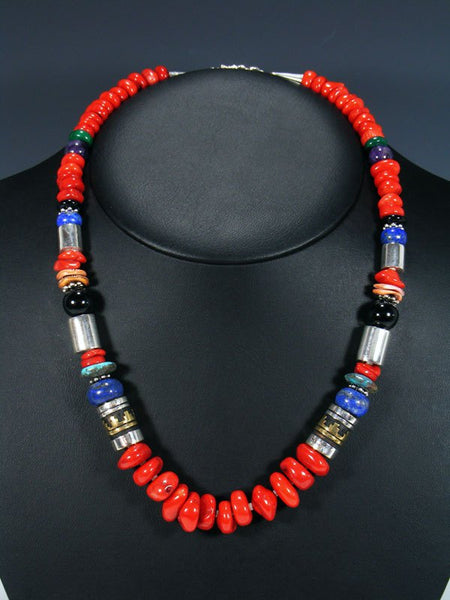 "Coral and Lapis 21"" Single Strand Bead Necklace"