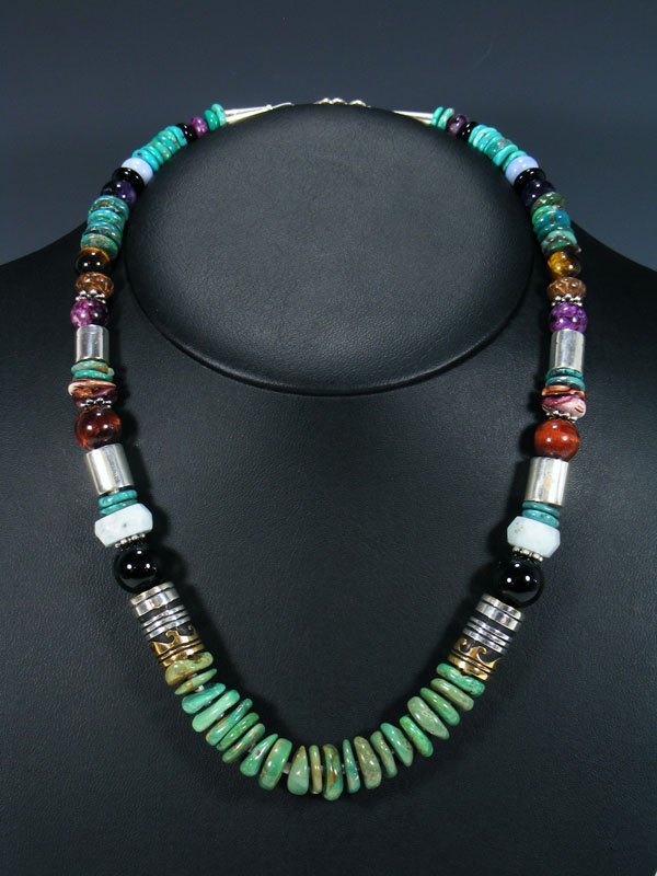 "Turquoise and Amethyst 21"" Single Strand Bead Necklace"