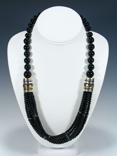 "Navajo Onyx 24"" Multi Strand Bead Necklace"