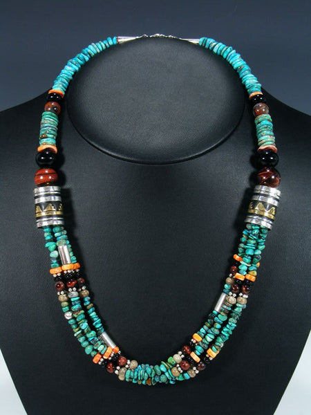 "Navajo Turquoise 24"" Multi Strand Bead Necklace"