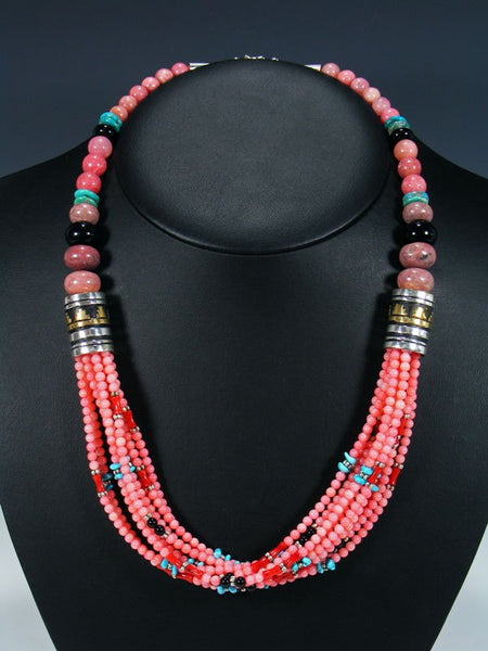 "Navajo Pink Coral and Rhodochrosite 24"" Multi Strand Bead Necklace"