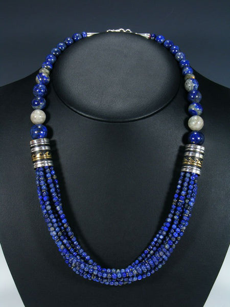 "Navajo Lapis 24"" Multi Strand Bead Necklace"