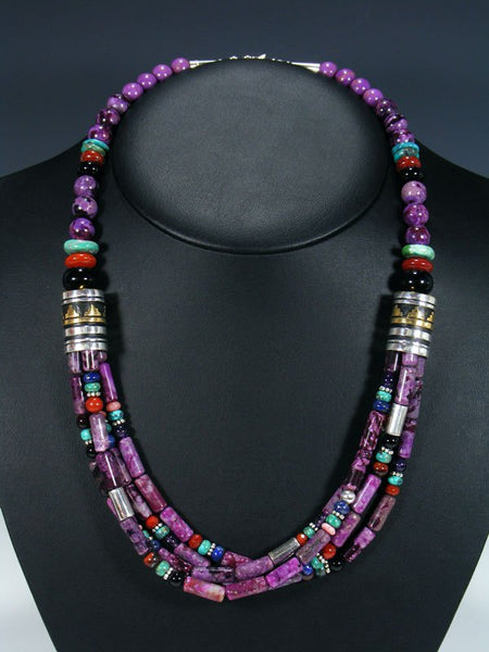 "Navajo Dyed Jasper 24"" Multi Strand Bead Necklace"