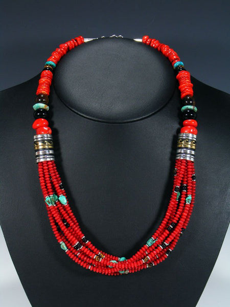 "Navajo Coral, Turquoise, and Onyx 24"" Multi Strand Bead Necklace"