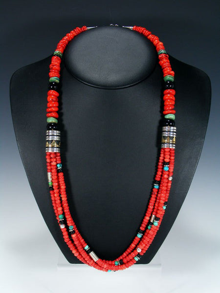 "Coral and Turquoise Multi Strand 30"" Beaded Necklace"