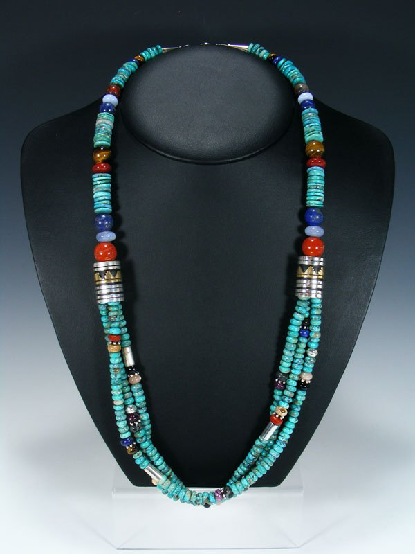 "Navajo Turquoise 30"" Multi Strand Beaded Necklace"