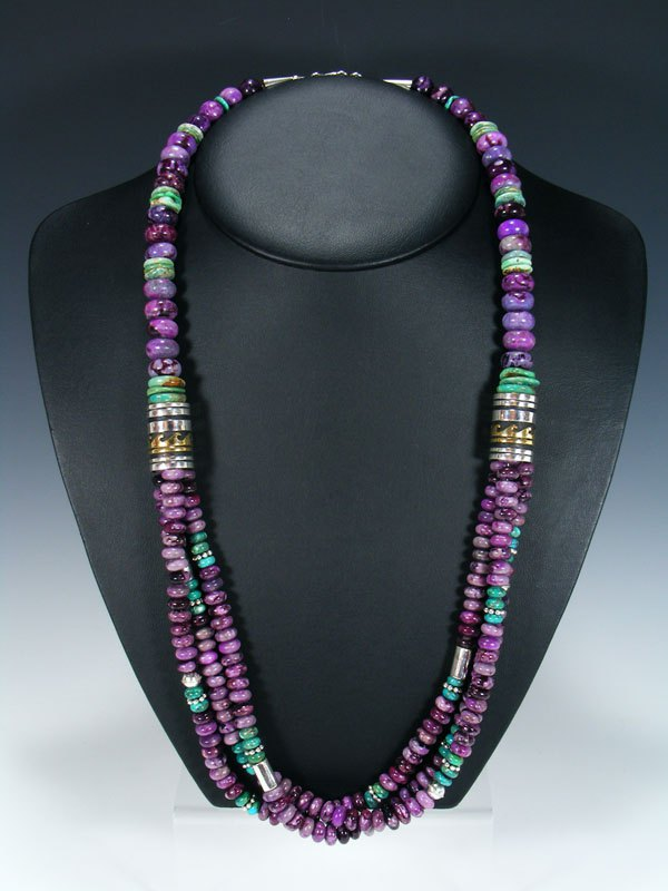 "Navajo Purple Dyed Jasper 30"" Multi Strand Beaded Necklace"