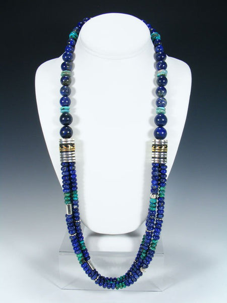 "Navajo Lapis and Turquoise 30"" Multi Strand Beaded Necklace"
