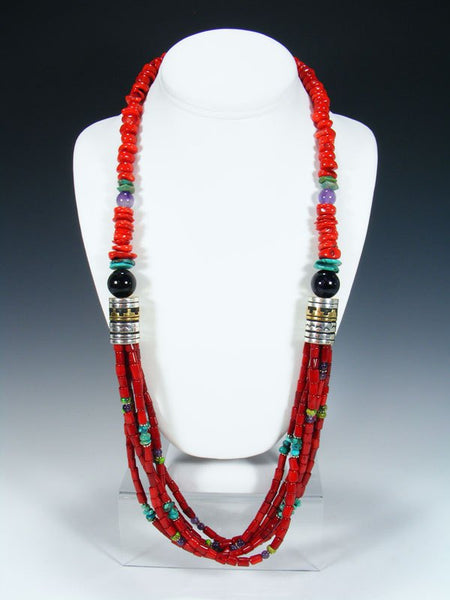 "Coral and Lapis 30"" Multi Strand Beaded Necklace"