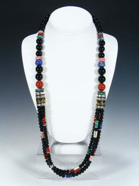 "Black Onyx and Turquoise Multi Strand Beaded 30"" Necklace"