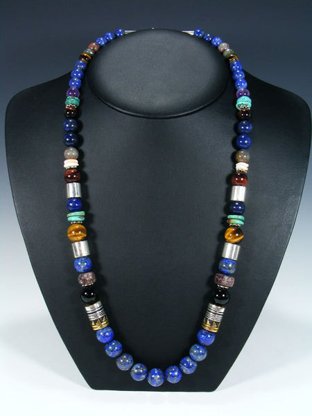 "Lapis 28"" Single Strand Beaded Necklace"