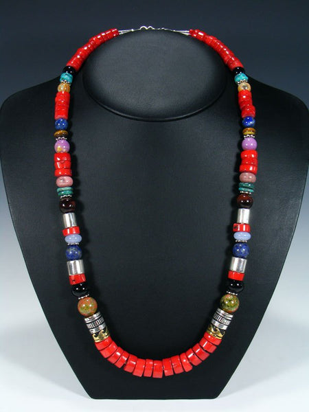 "Navajo Coral and Spiny Oyster 28"" Single Strand Beaded Necklace"