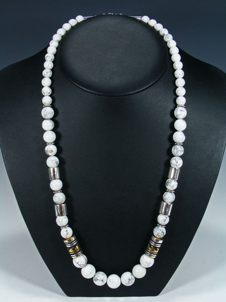 "White Marble 28"" Single Strand Beaded Necklace"