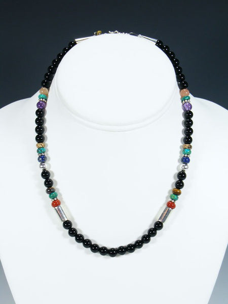 "16"" Black Onyx Beaded Single Strand Necklace"