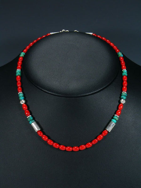 "18"" Coral and Turquoise Single Strand Choker Bead Necklace"