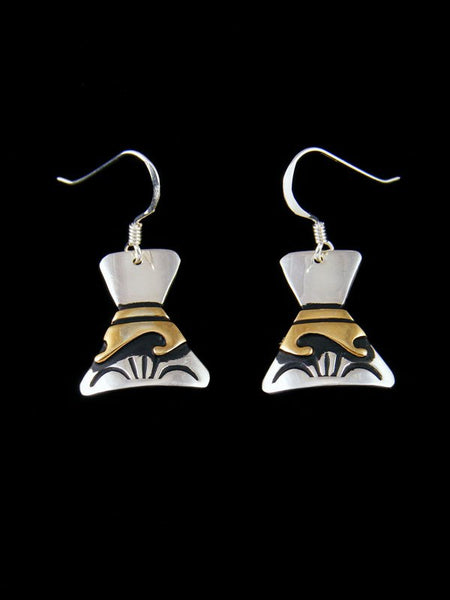 Navajo Sterling Silver and Gold Dangle Overlay Earrings