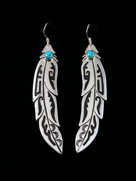 Sterling Silver Feather Turquoise Overlay Earrings