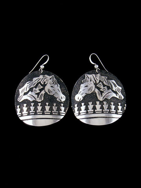 Navajo Sterling Silver Etched Overlay Dangle Earrings