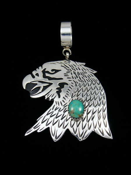 Native American Sterling Silver Overlay Turquoise Eagle Pendant