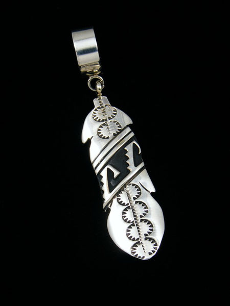 Native American Sterling Silver Overlay Feather Pendant