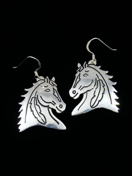 Navajo Sterling Silver Overlay Horse Dangle Earrings