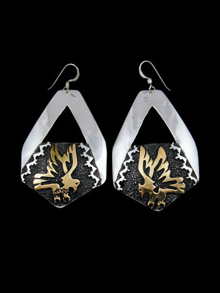 Navajo Sterling Silver and Gold Dangle Eagle Overlay Earrings