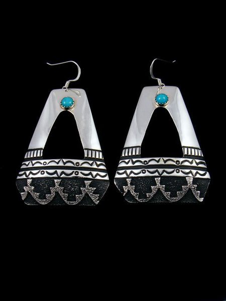 Navajo Sterling Silver and Turquoise Dangle Overlay Earrings